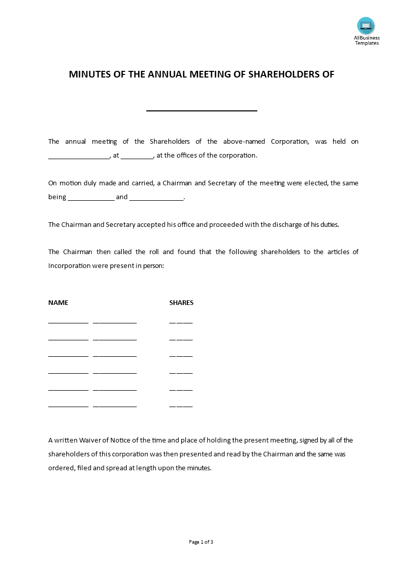 Minutes of the annual meeting of shareholders templates for Minutes of shareholders meeting template