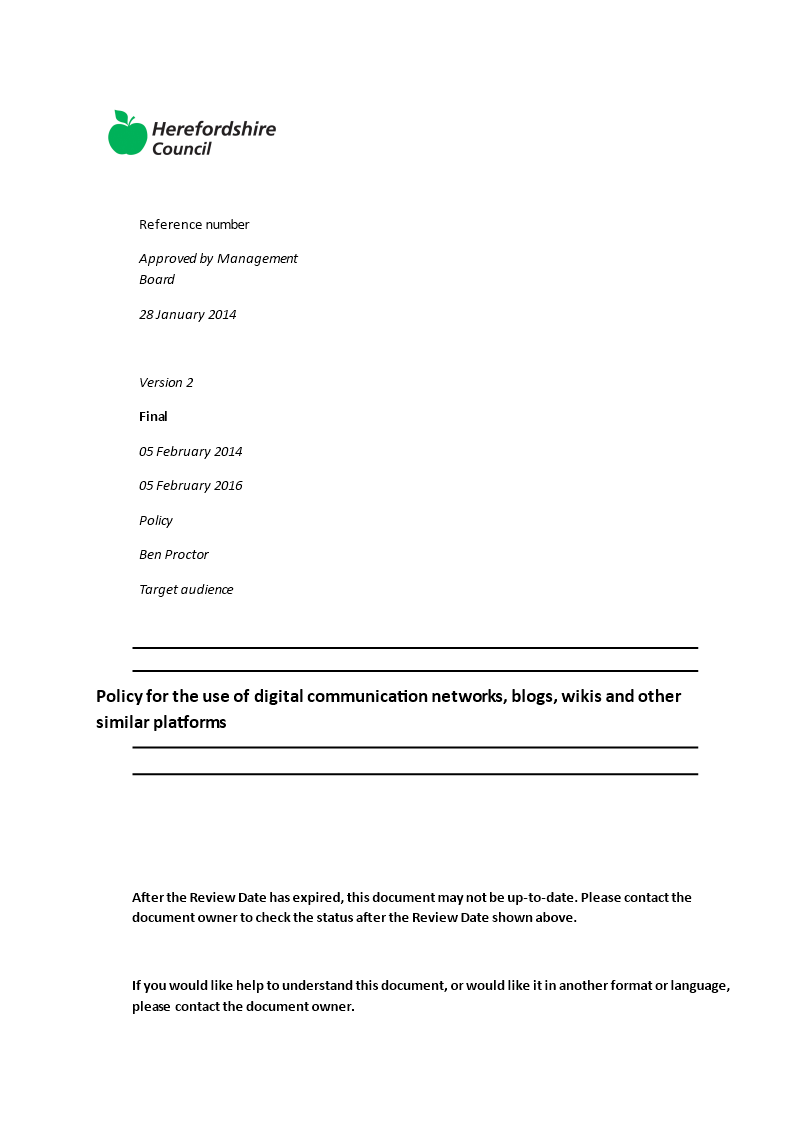 Free Corporate Social Media Policy Templates At