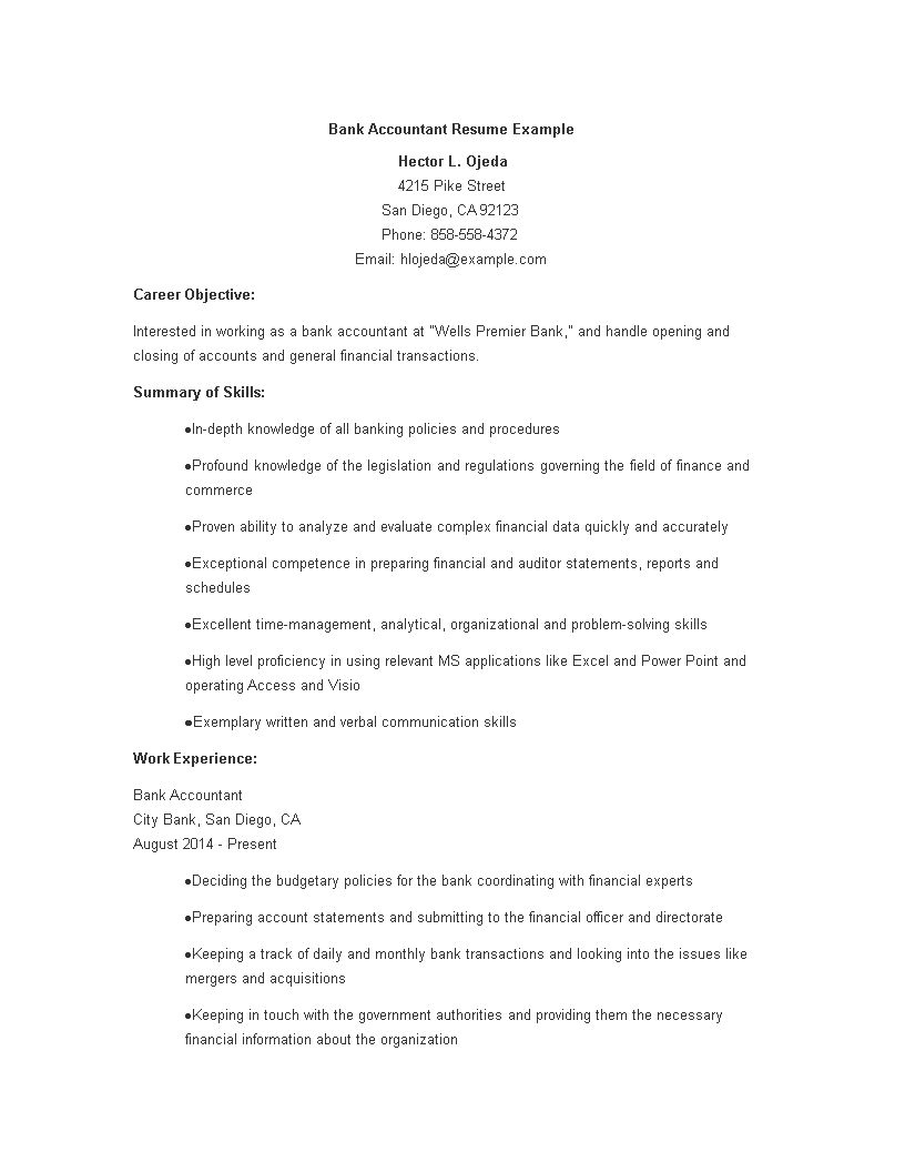 Free Bank Accounting Resume | Templates at allbusinesstemplates.com