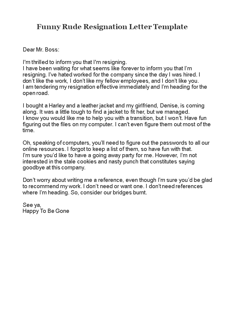 Rude Resignation Letter | Free Funny Rude Resignation Letter Templates At