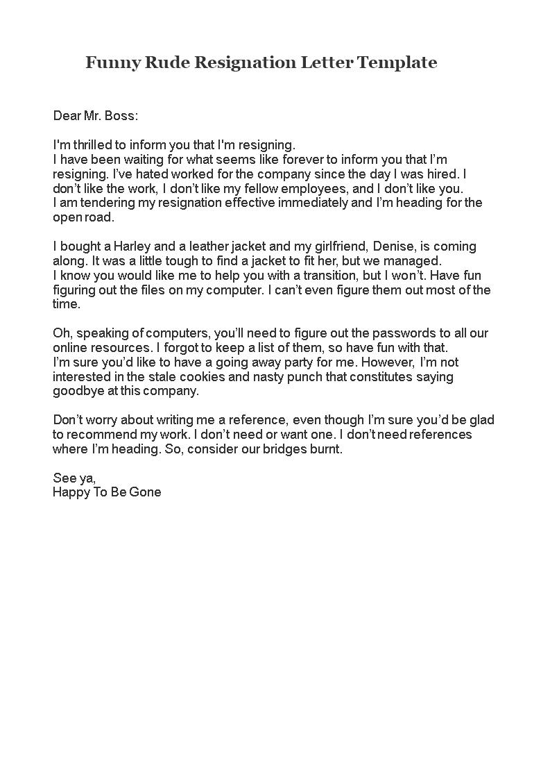 Funny rude resignation letter allbusinesstemplates funny rude resignation letter main image expocarfo