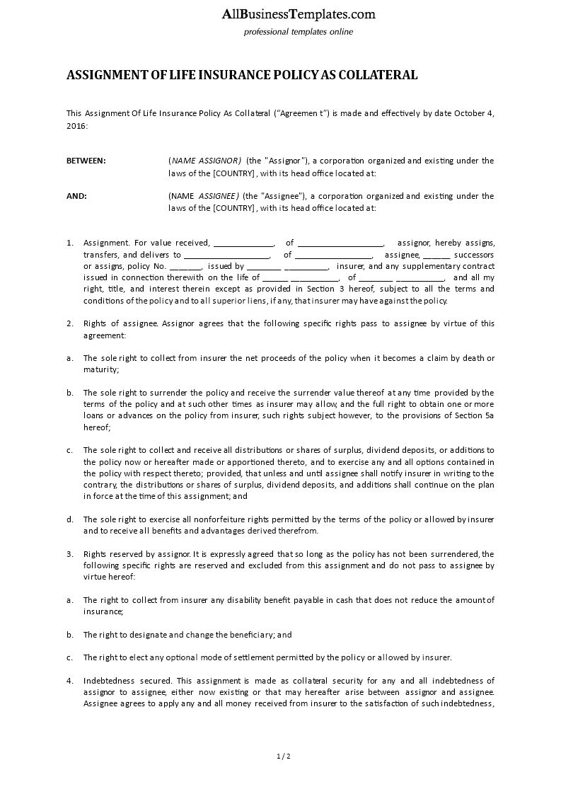 life insurance policy as collateral assignment main image download template