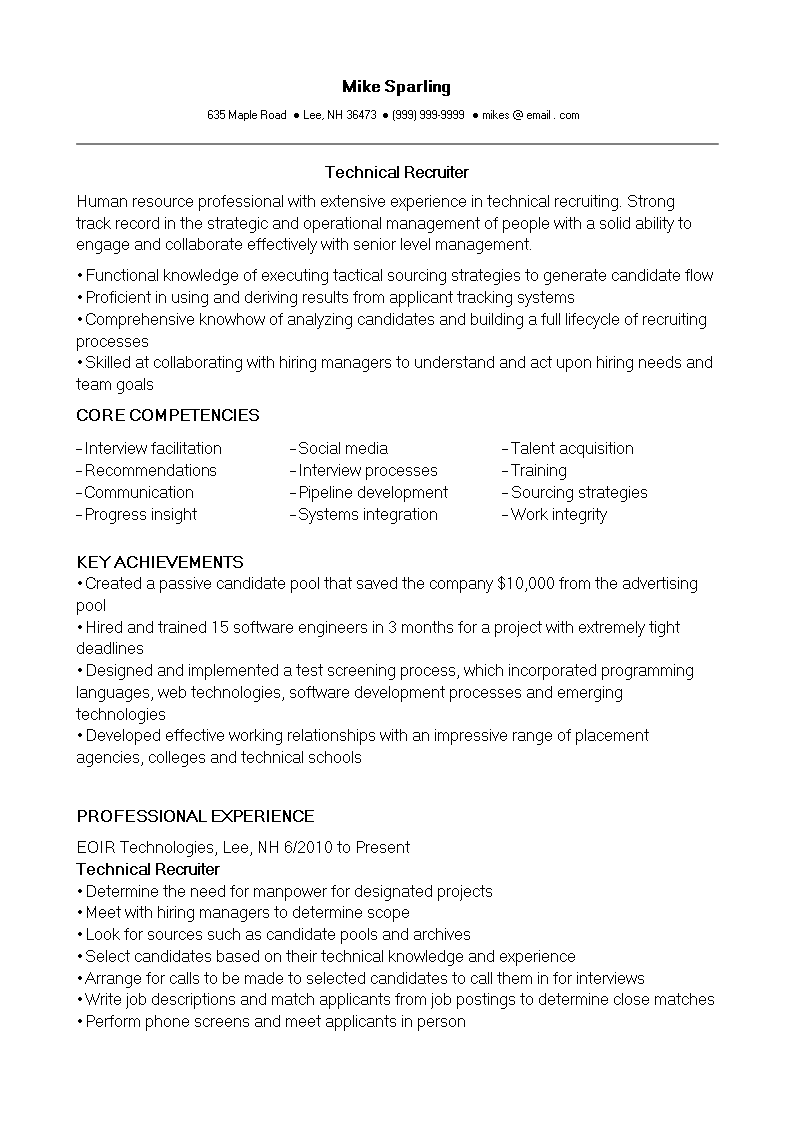 IT Technical Recruiter Resume main image