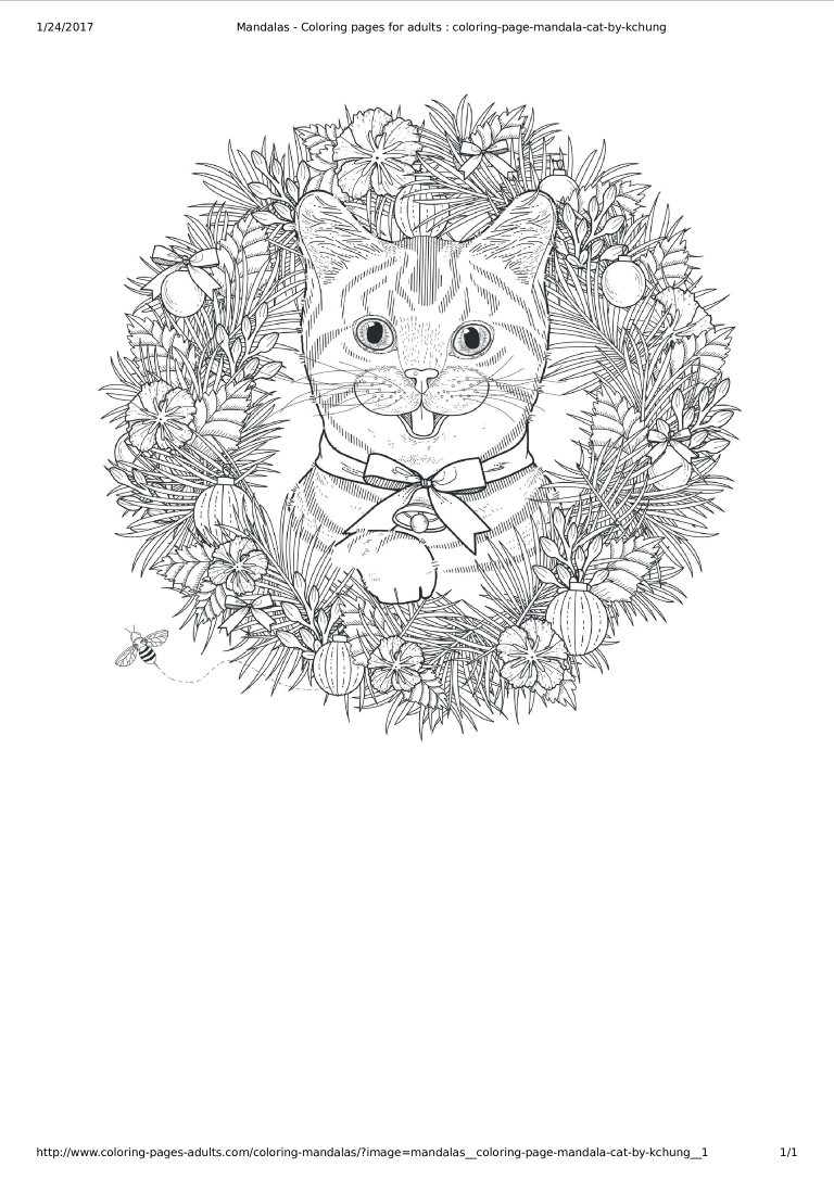 Mandala Cat Coloring Page Main Image