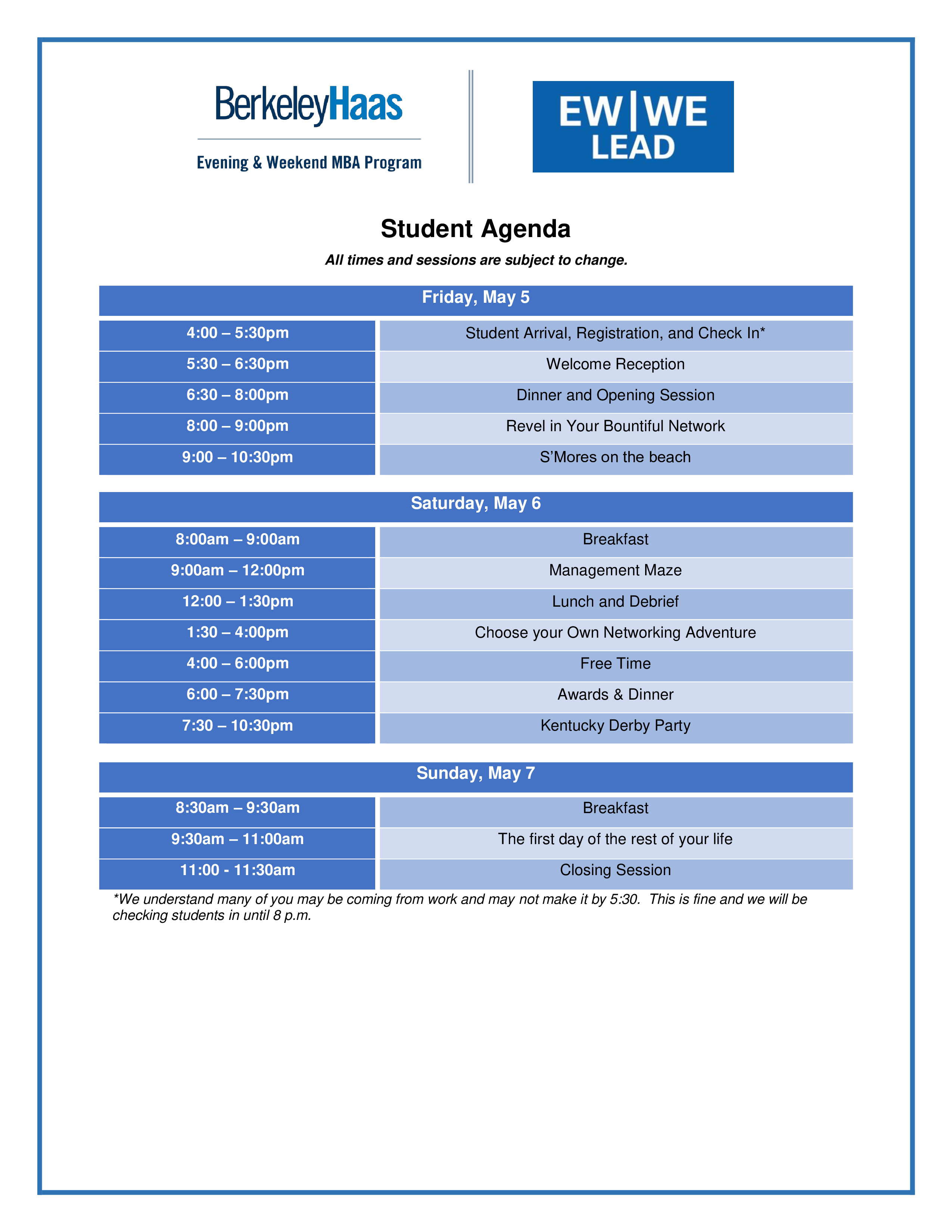 student agenda templates