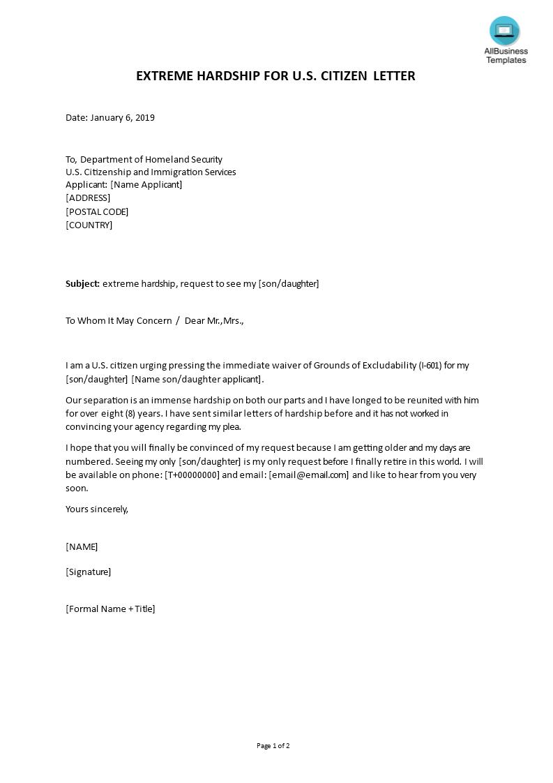 601 Extreme Hardship Letter