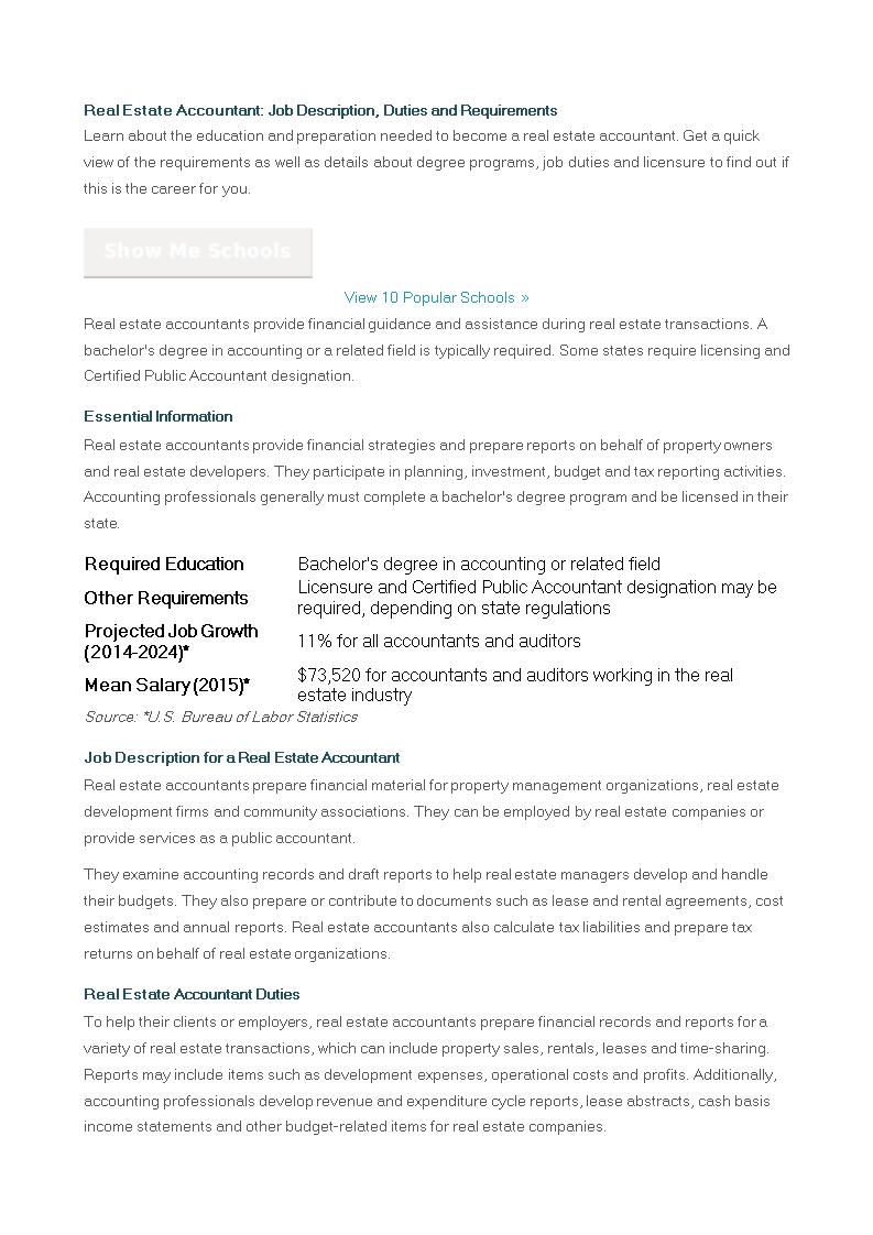 Free Accountant Real Estate Job Description | Templates at ...