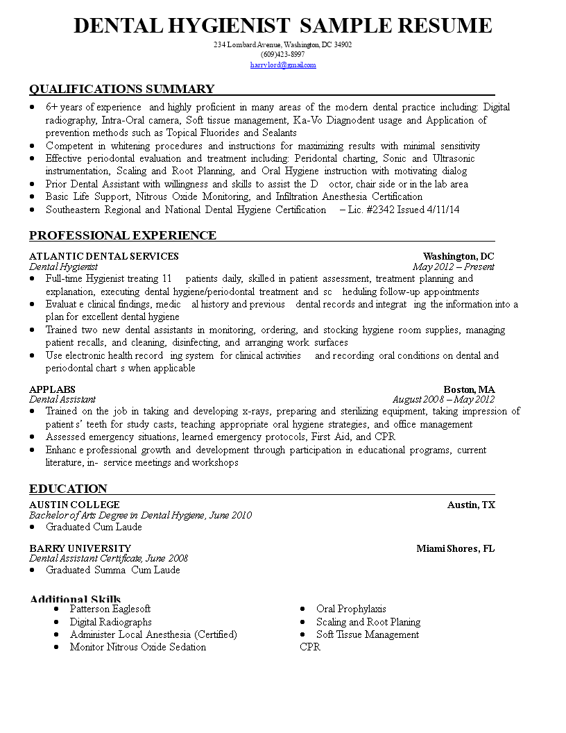 免费dental Hygienist Resume Sample 1 样本文件在