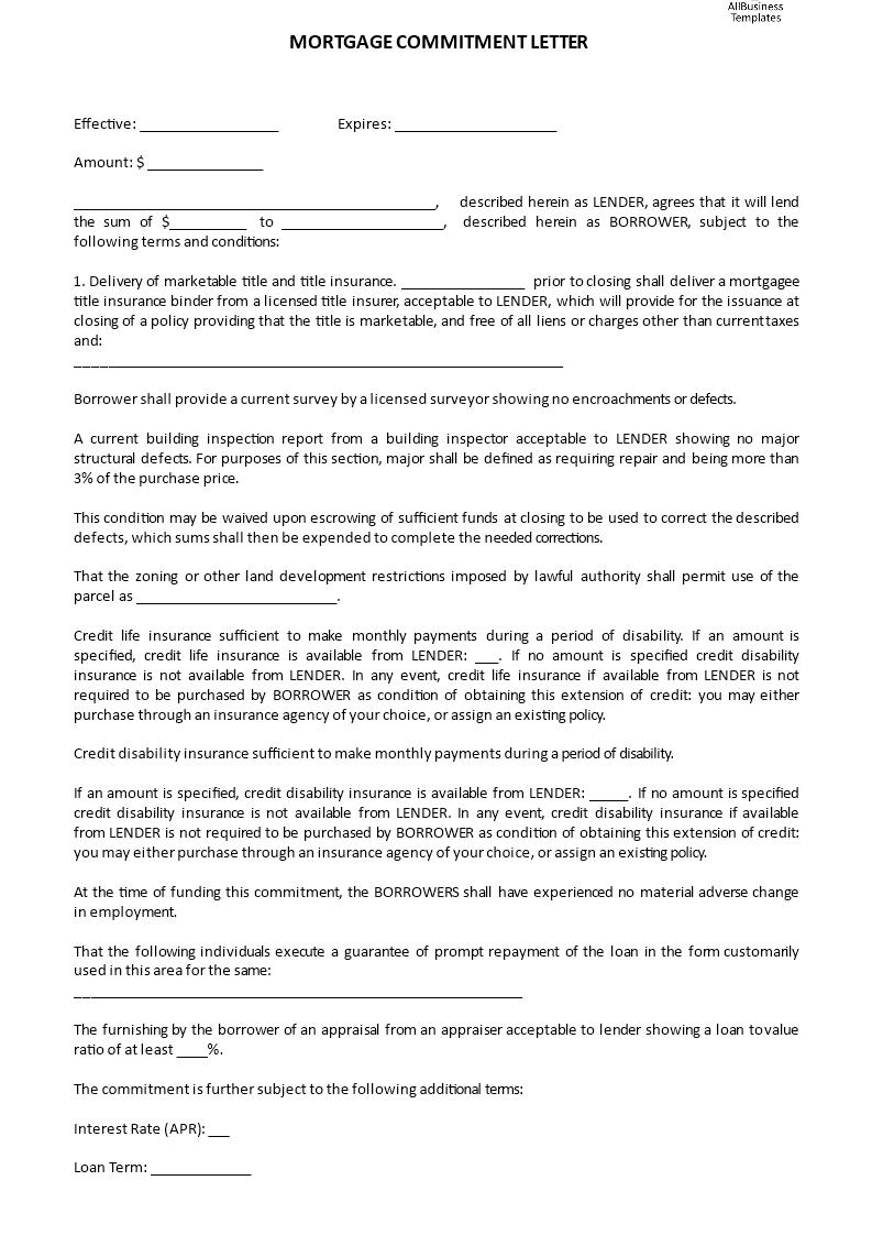 é ˜çº§Mortgage mitment Letter