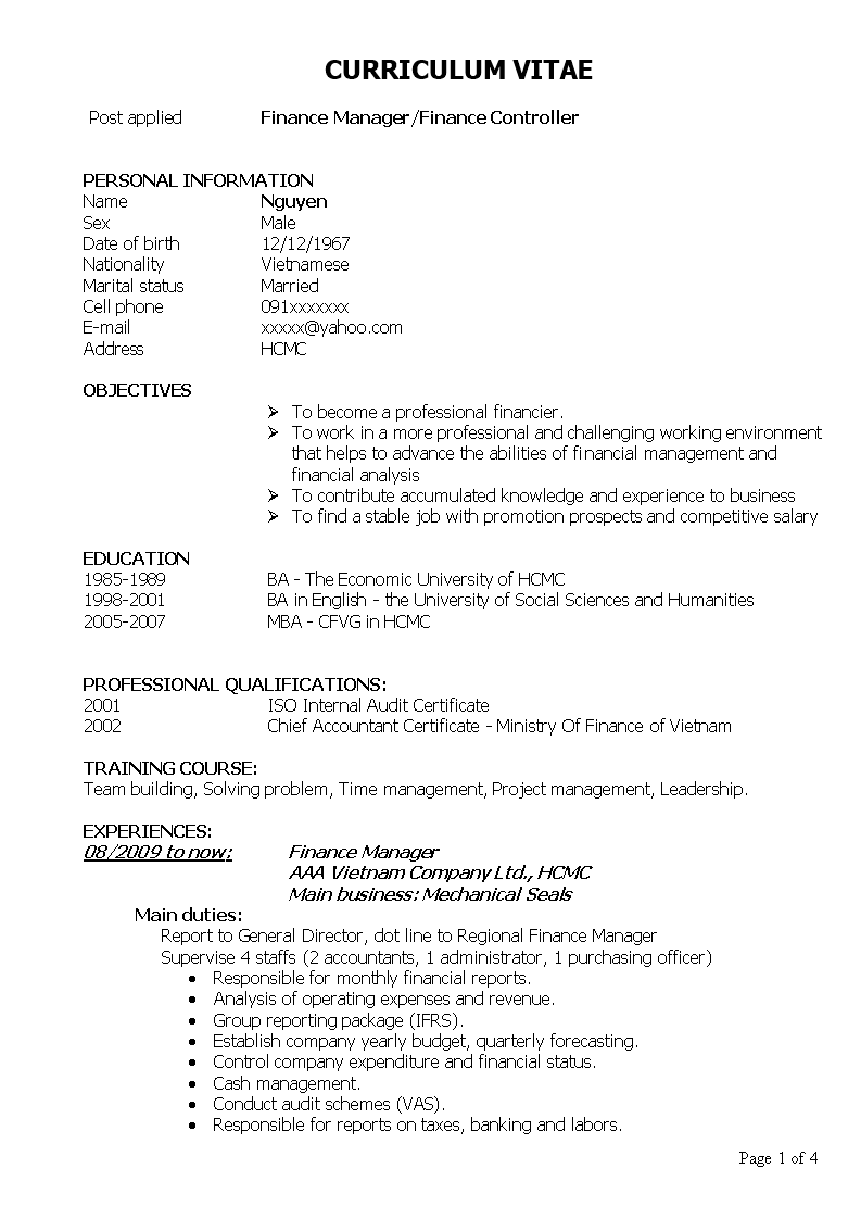 sales account manager curriculum vitae example