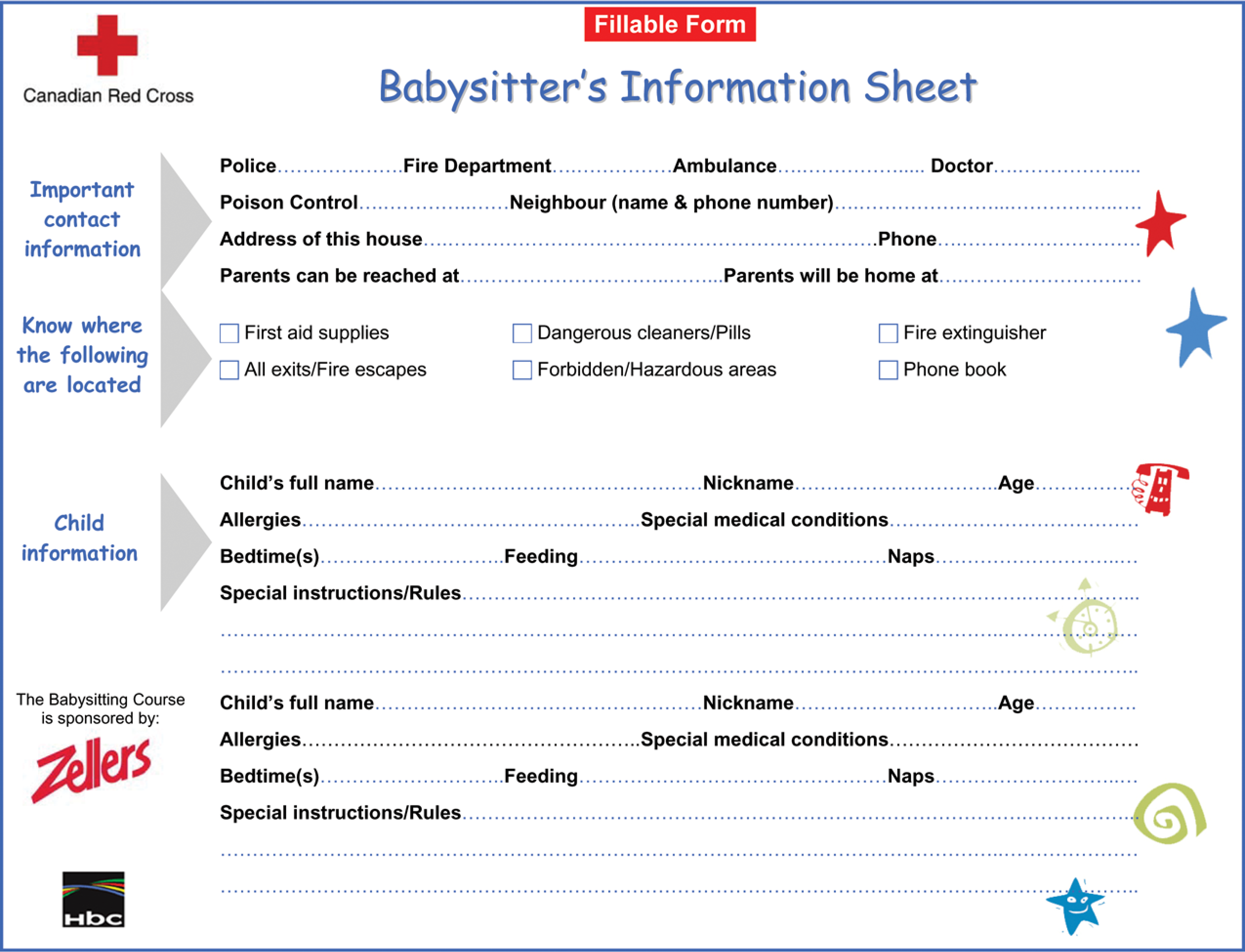 free printable babysitter information sheet templates at