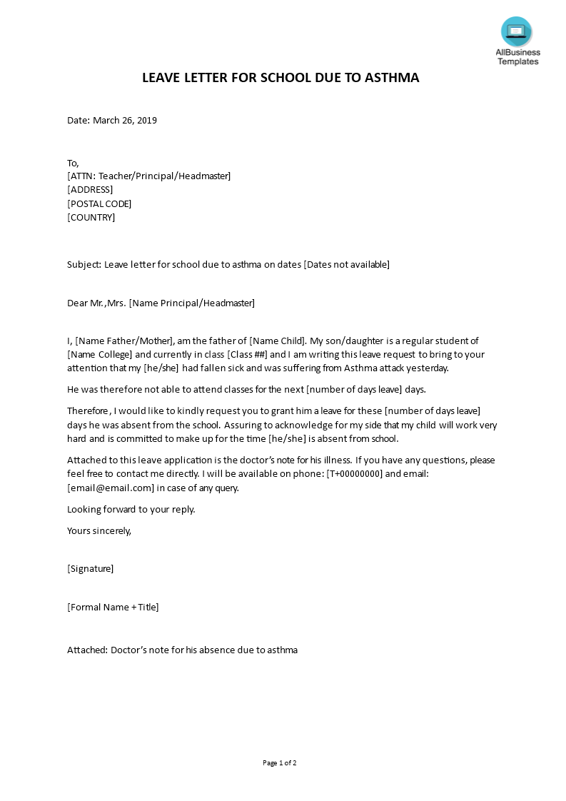 Leave Letter for School Due to Asthma   Templates at
