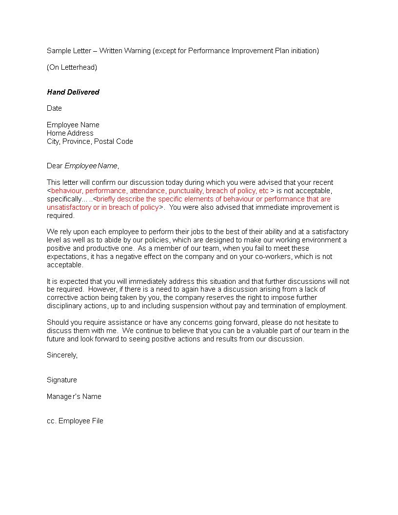 Free restaurant staff warning letter templates at restaurant staff warning letter main image download template spiritdancerdesigns Choice Image