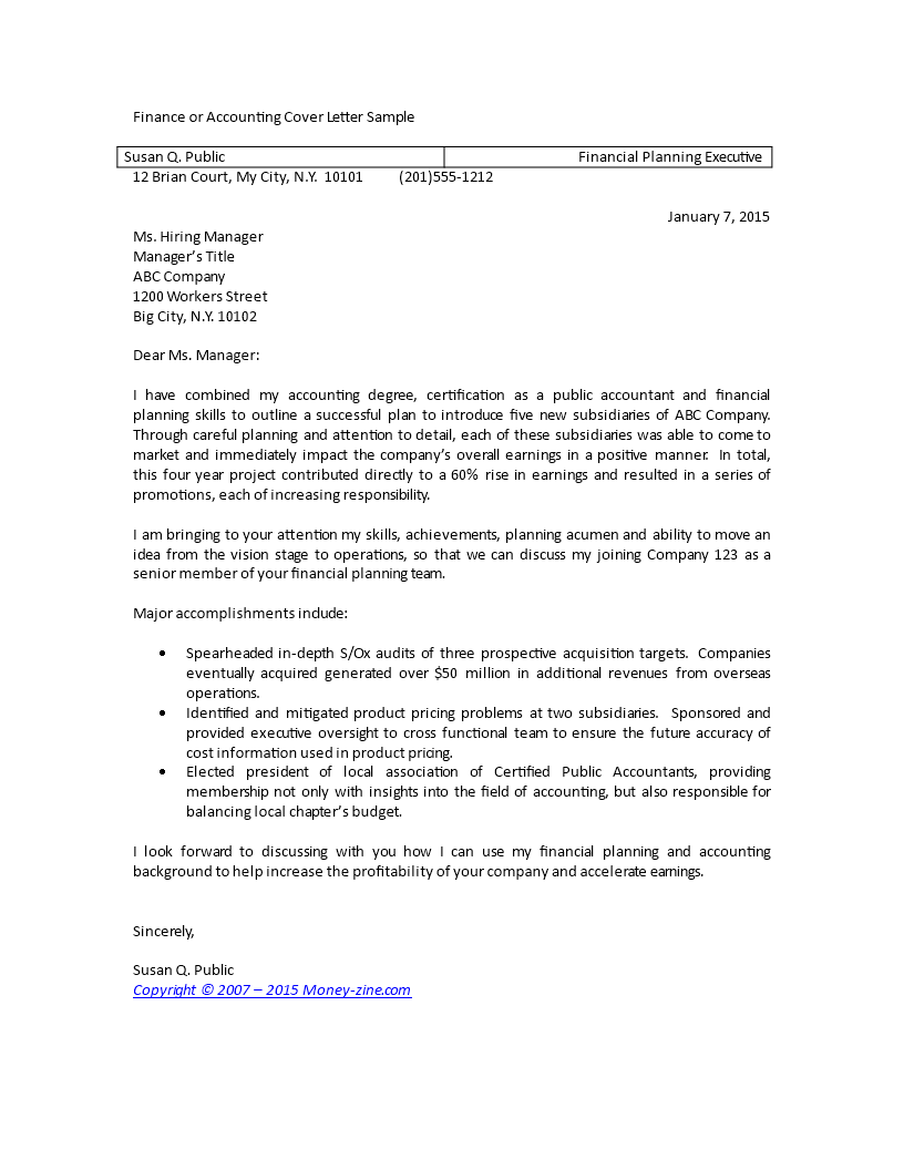 Kostenloses Finance Or Accounting Cover Letter Sample