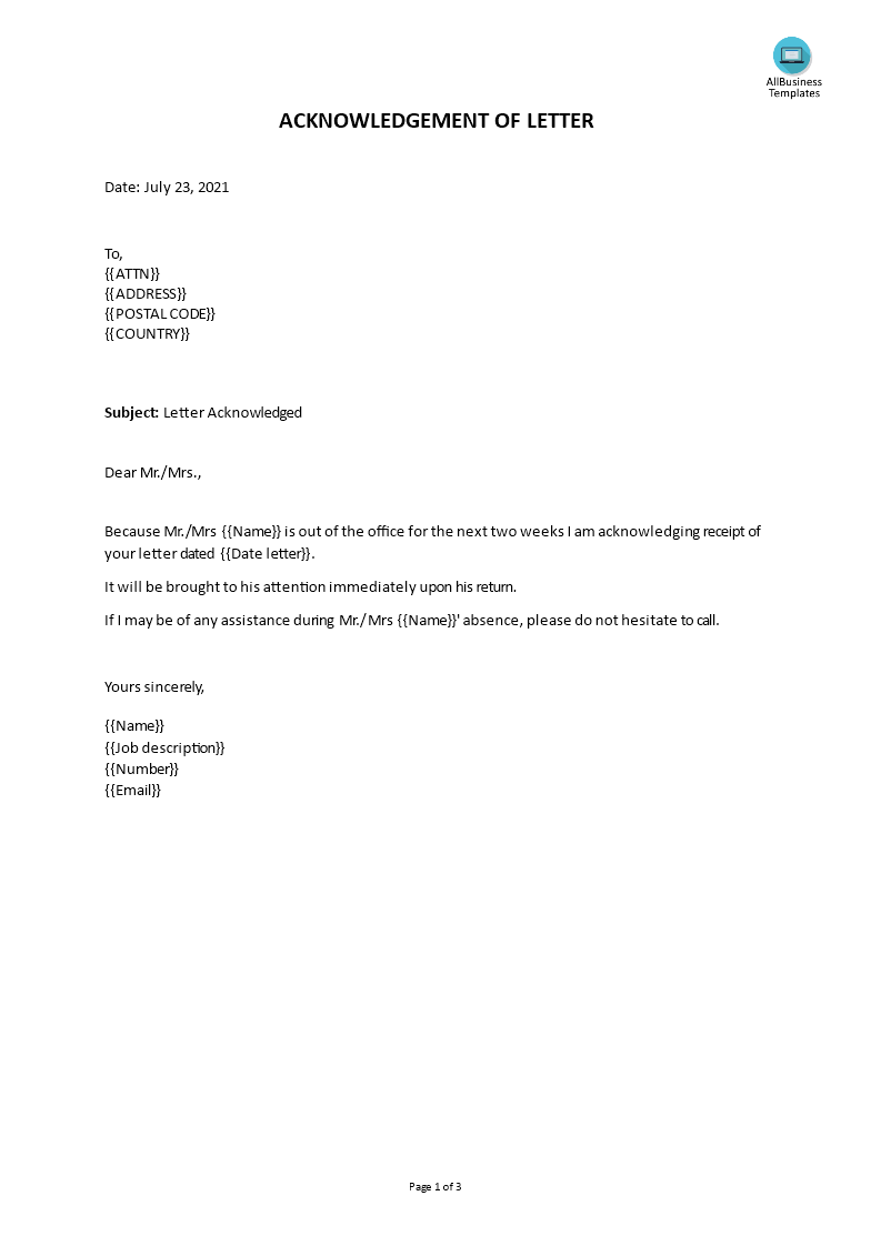 Acknowledgement Letter Sample main image