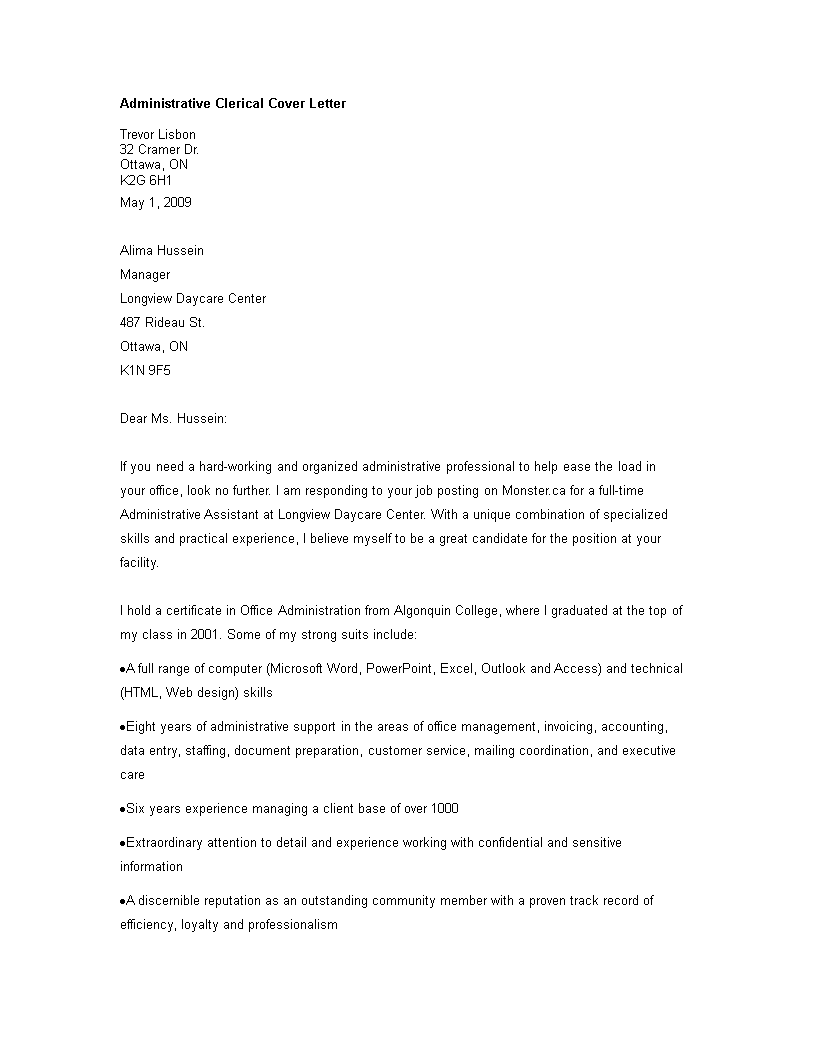 Free Administrative Clerical worker Cover Letter | Templates at ...