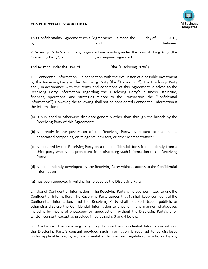 Confidentiality agreement investments templates at for Cda agreement template