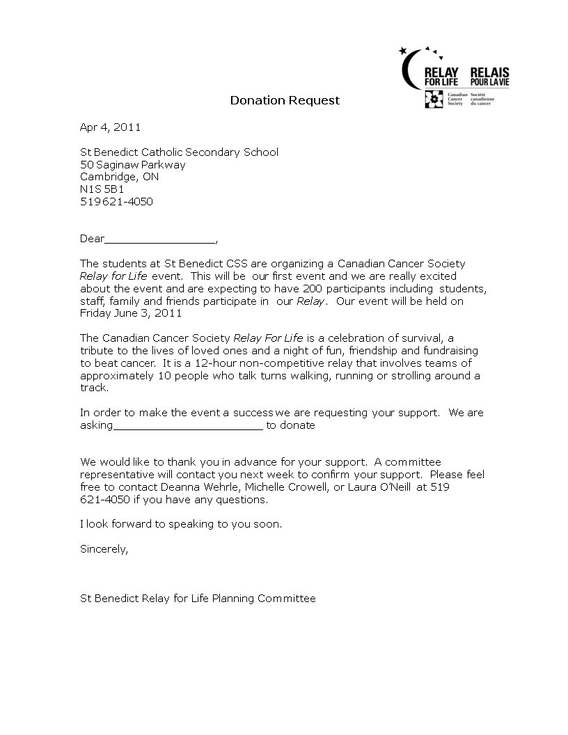 sample donation request letter for school main image