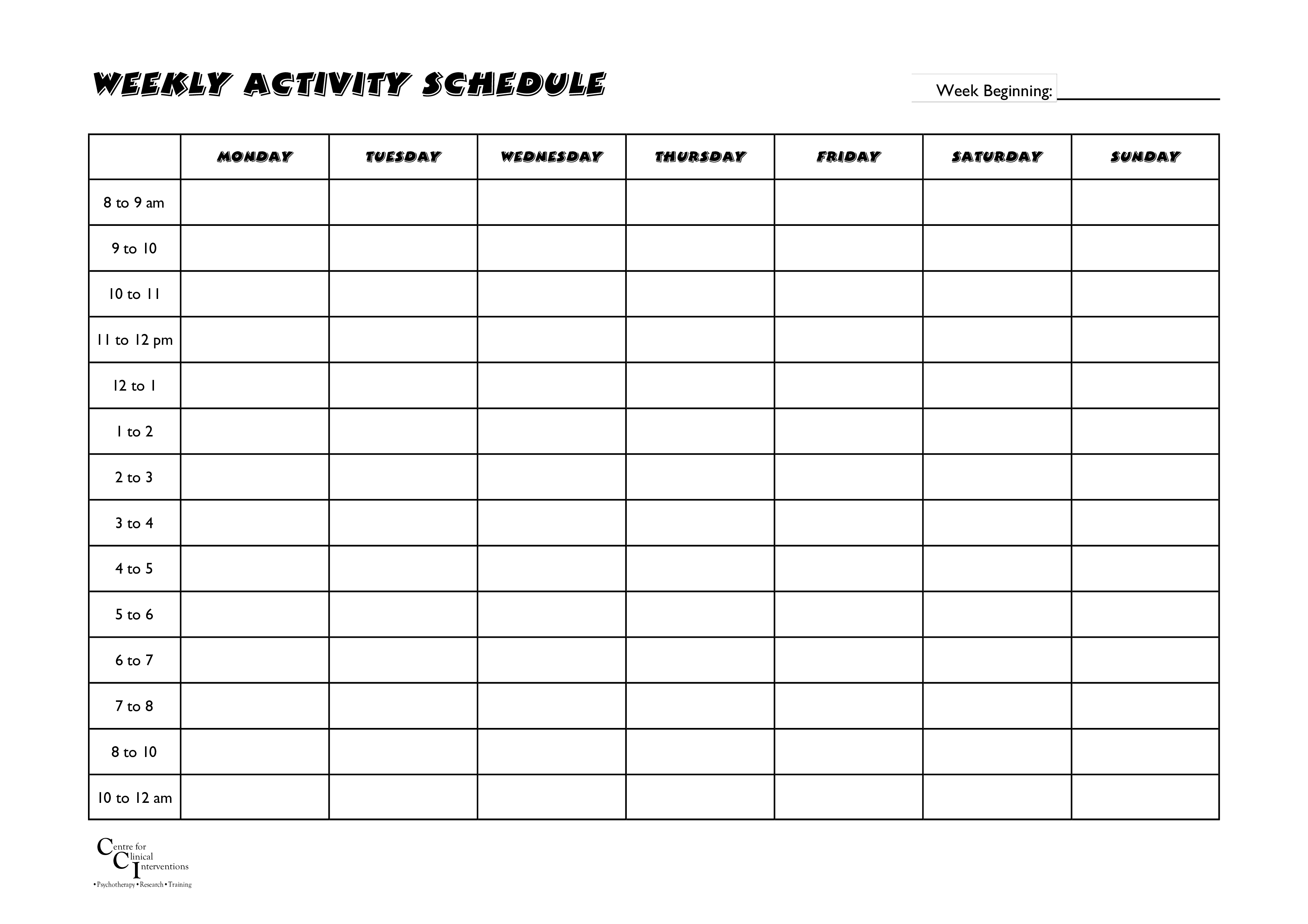 free weekly activities schedule templates at