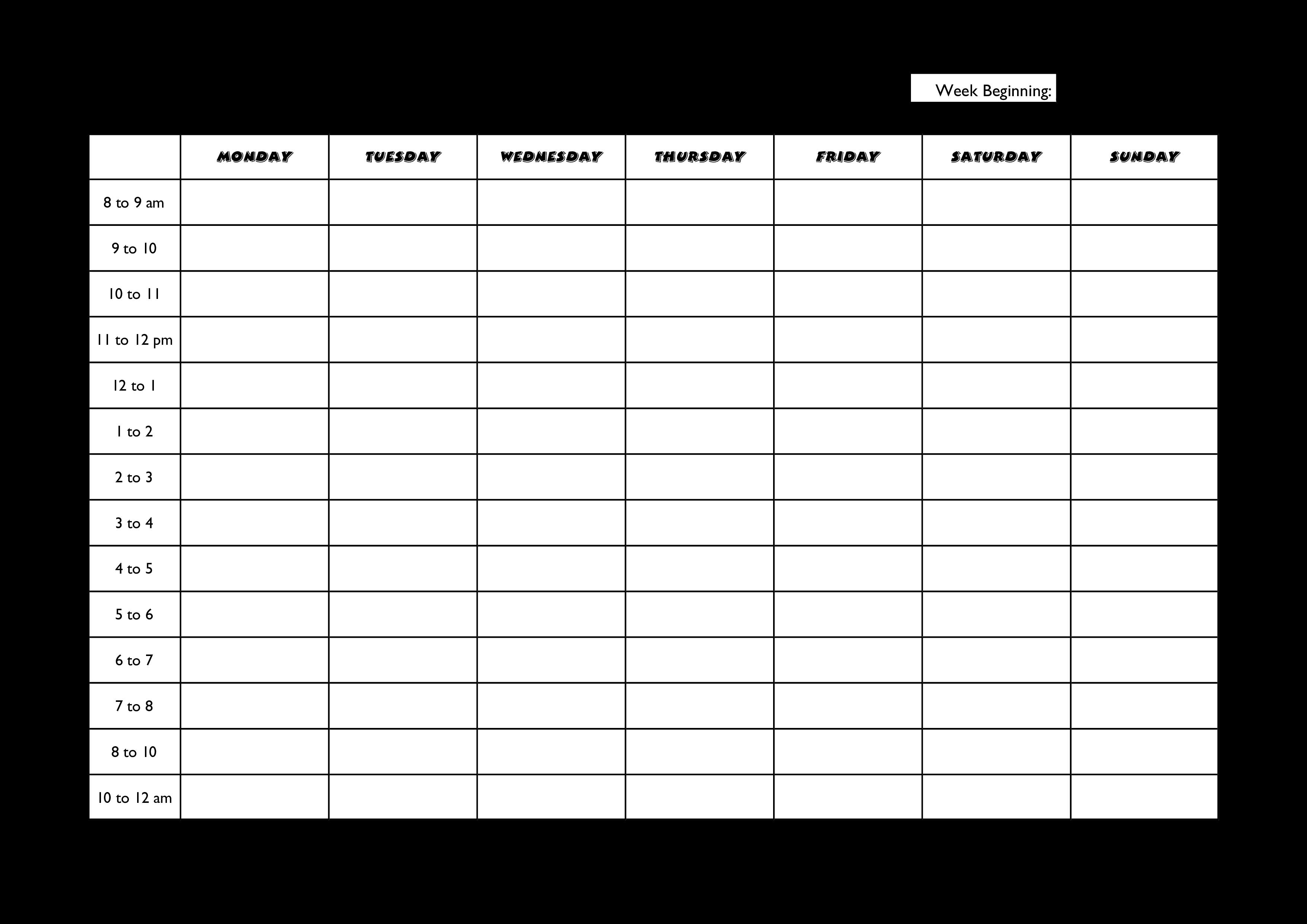 Free Weekly Activities Schedule | Templates at allbusinesstemplates.com