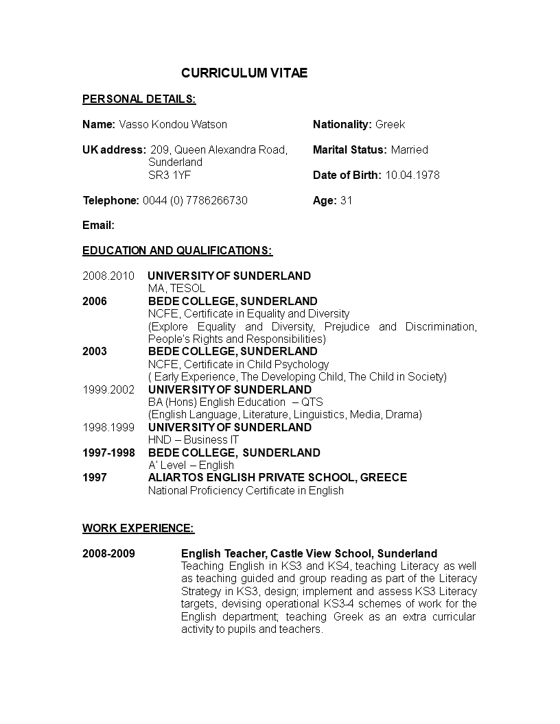 Teacher Resume Format In Word | Templates at