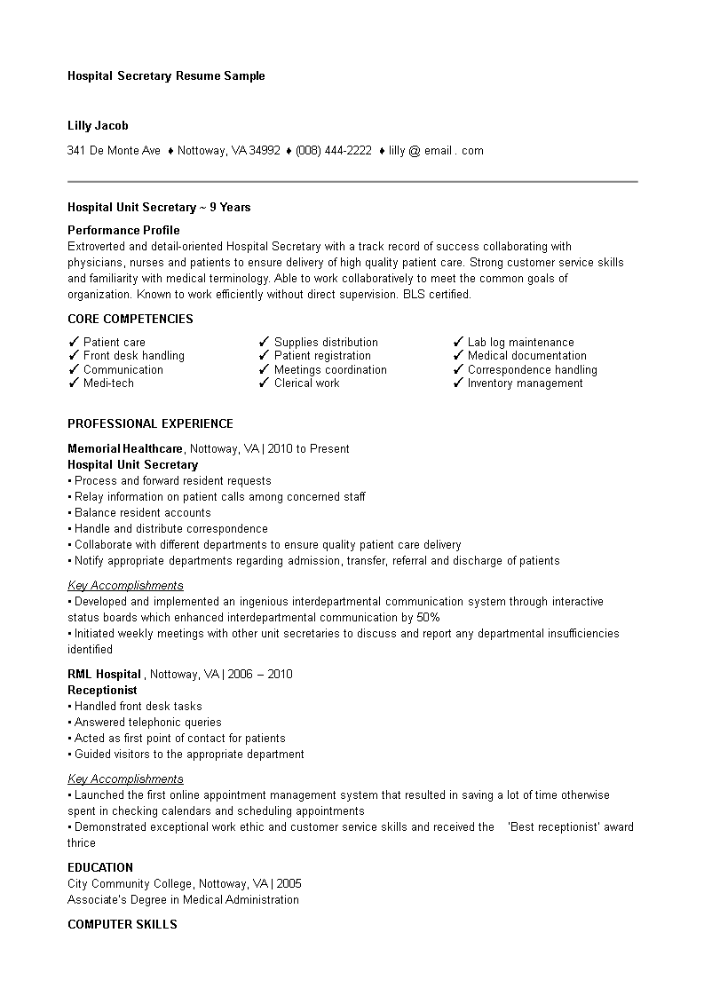 Hospital Resume Templates At Allbusinesstemplates Com