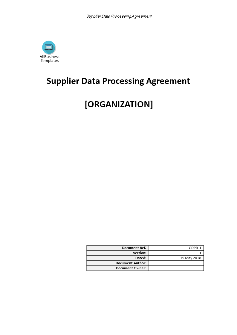 GDPR Supplier Data Processing Agreement main image