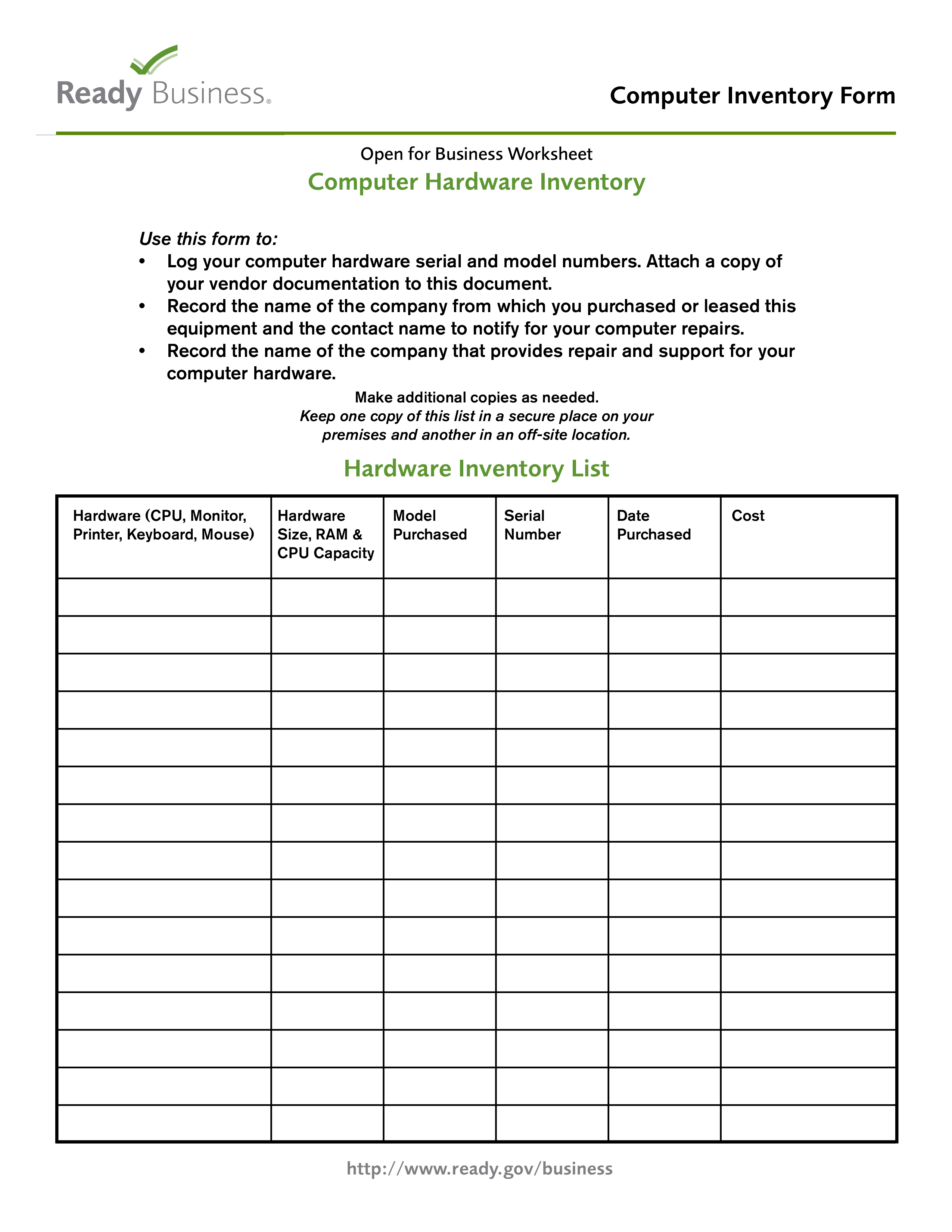 Computer Hardware Inventory Form Main Image Download Template