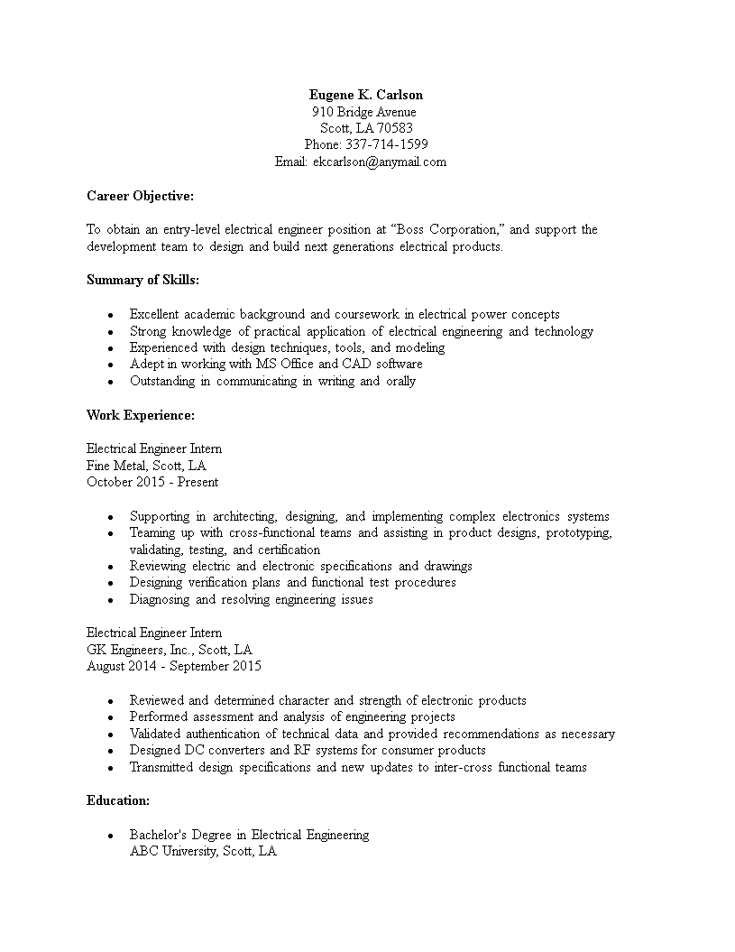 Electrical Engineering Entry Level Resume Template Templates At