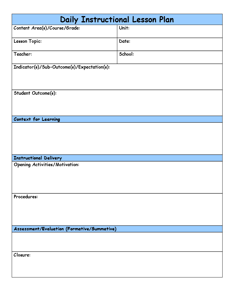 Free generic lesson plan templates at for Generic lesson plan template