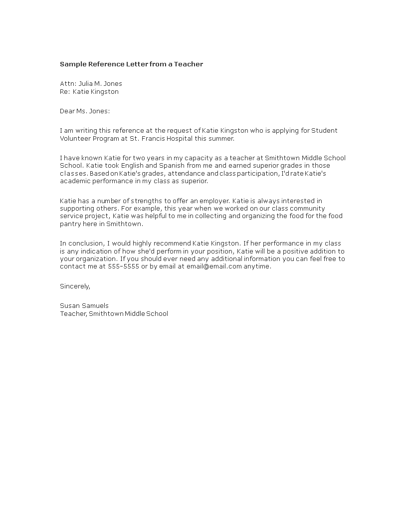 Free reference letter from teacher templates at reference letter from teacher main image expocarfo Images