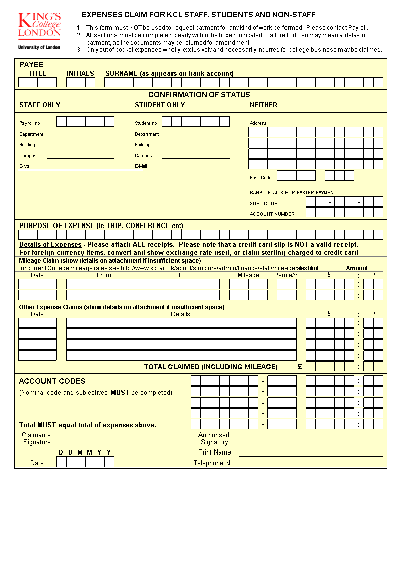 Expense Claim Form Excel   Templates at ...