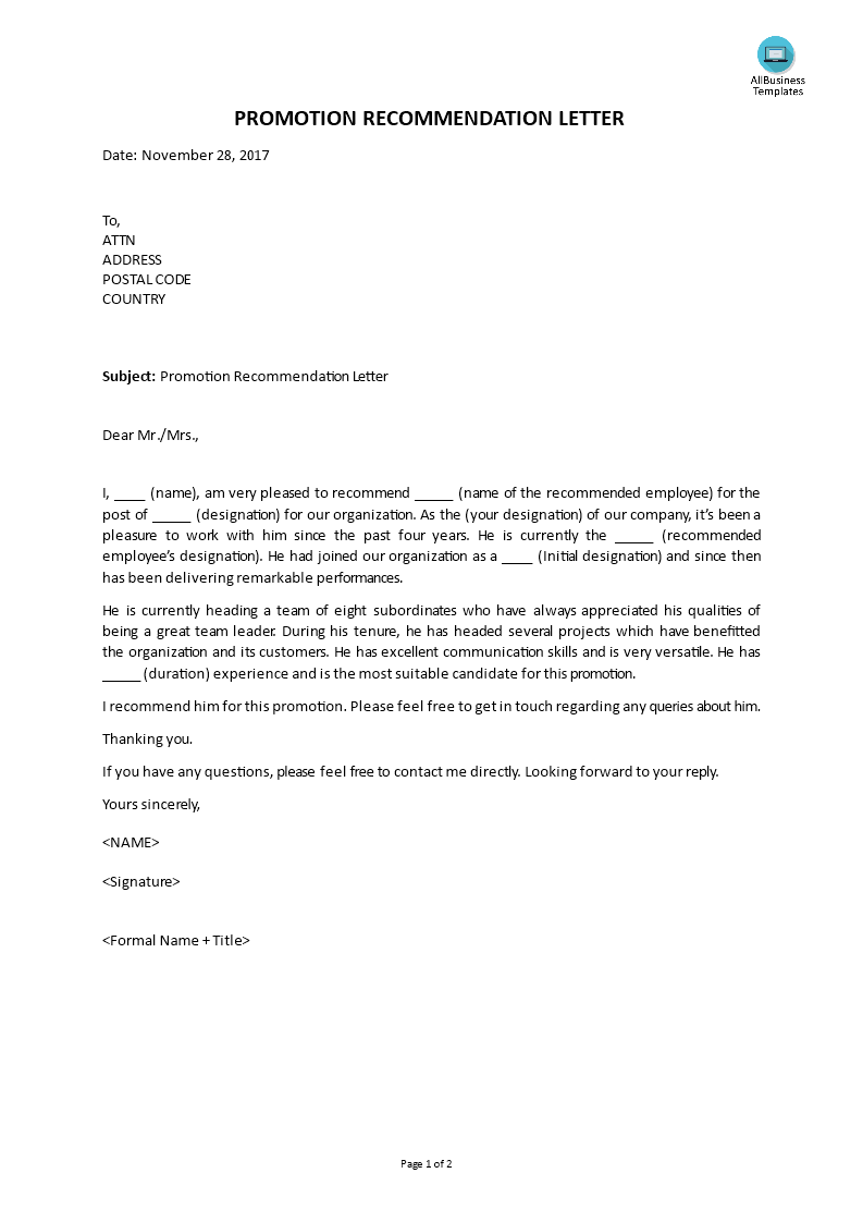 Free Promotion Recommendation Letter  Templates At