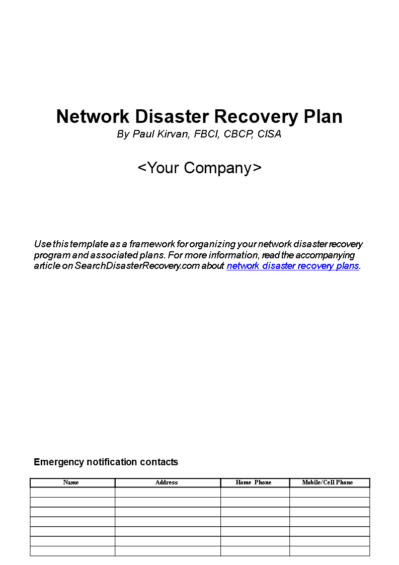 Free Network Disaster Recovery Plan Templates At