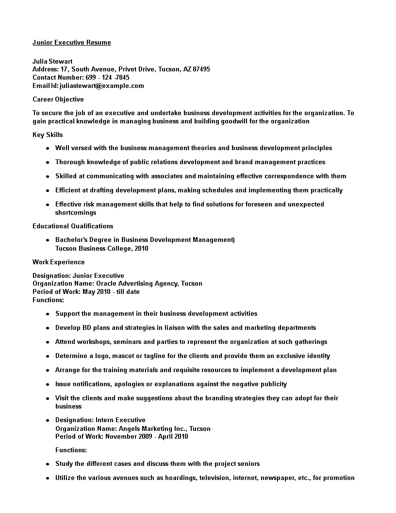 Free Junior Finance Executive Resume | Templates at ...