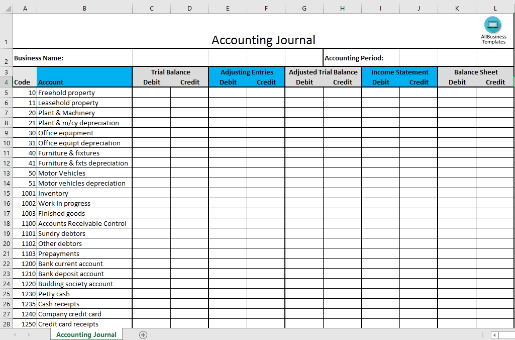 Free accounting journal excel template templates at accounting journal excel template main image flashek