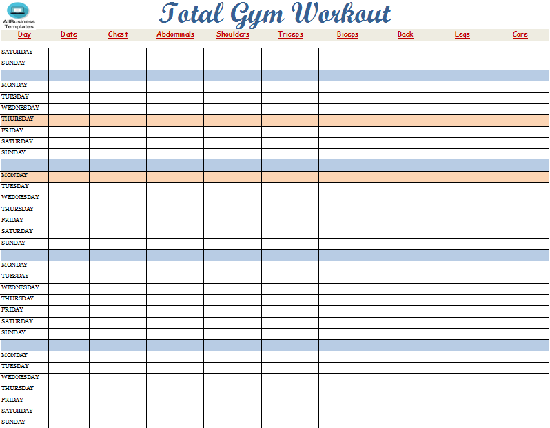 work out plan template