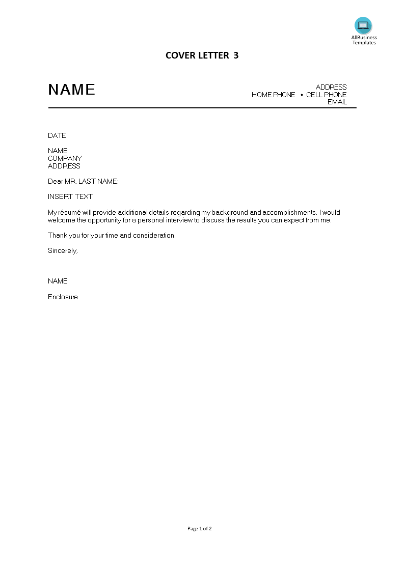 Free Cover Letter Chronological Style Templates At