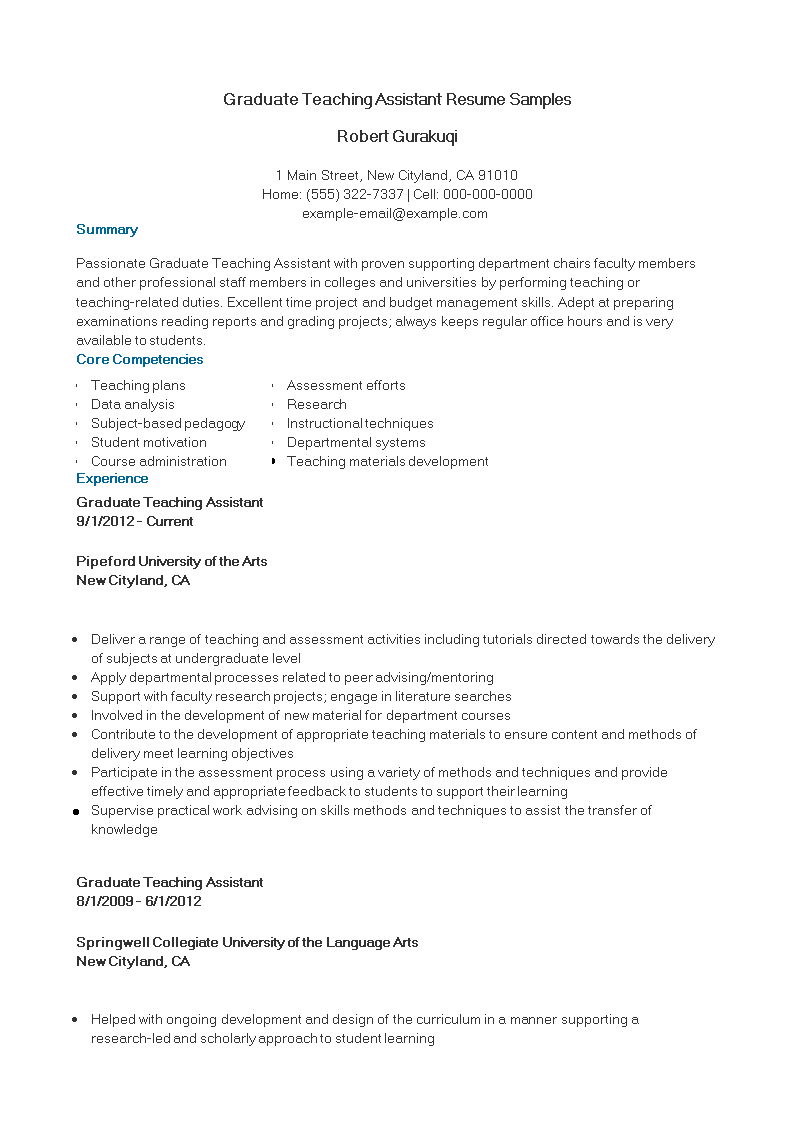 Graduate Teaching Assistant Resume Samples Templates At