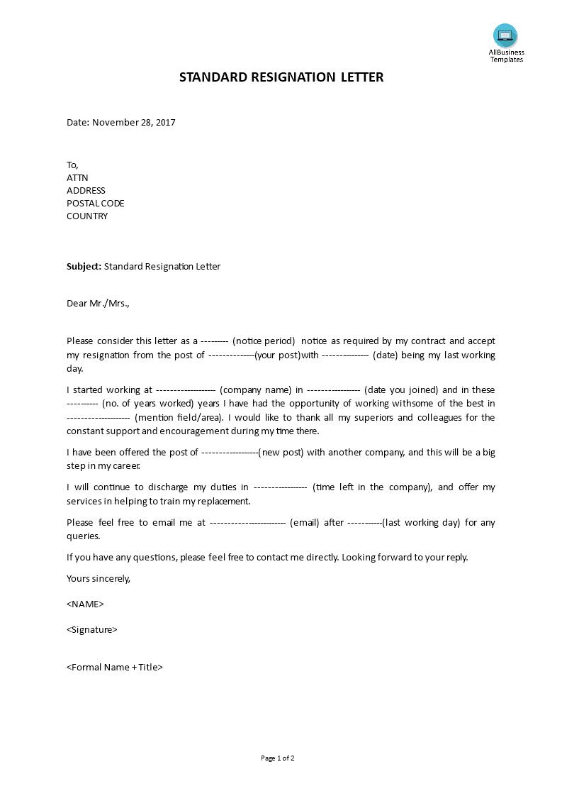 Standard Resignation Letter Main Image