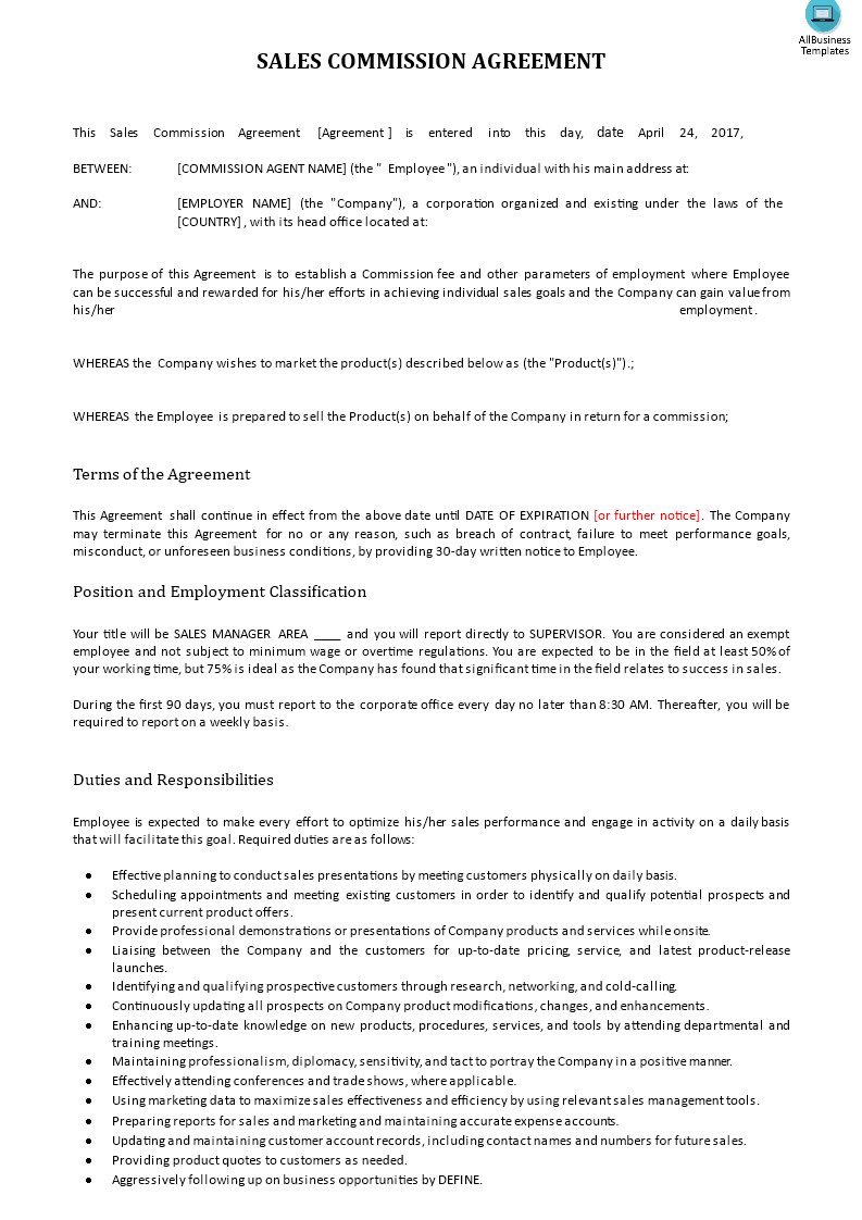 Sales Commission Contract Example | Templates at ...