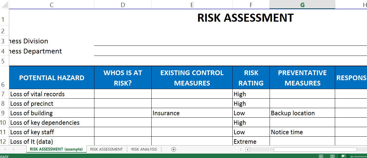 risk assessment template excel templates at