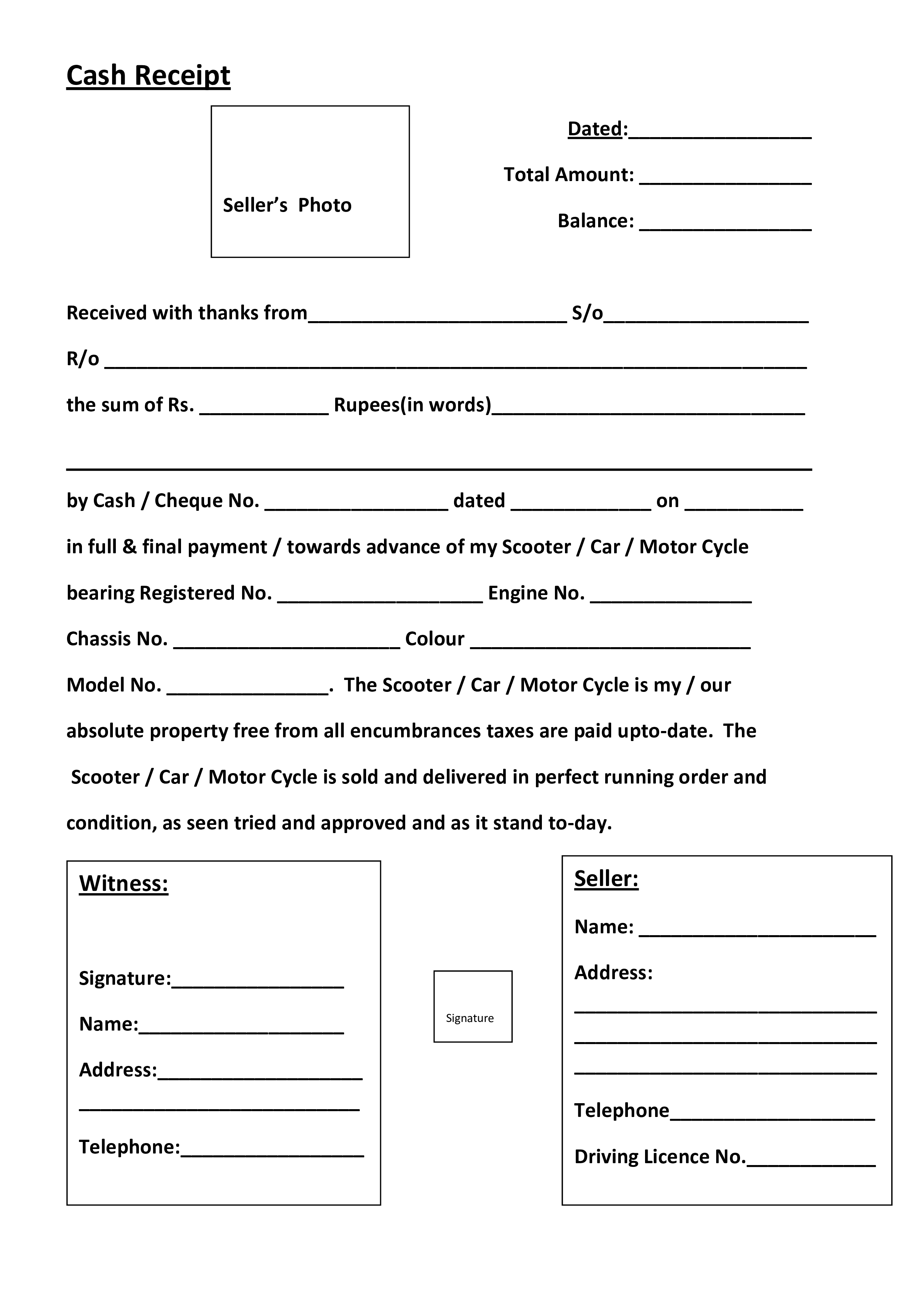 free cash sales receipt templates at