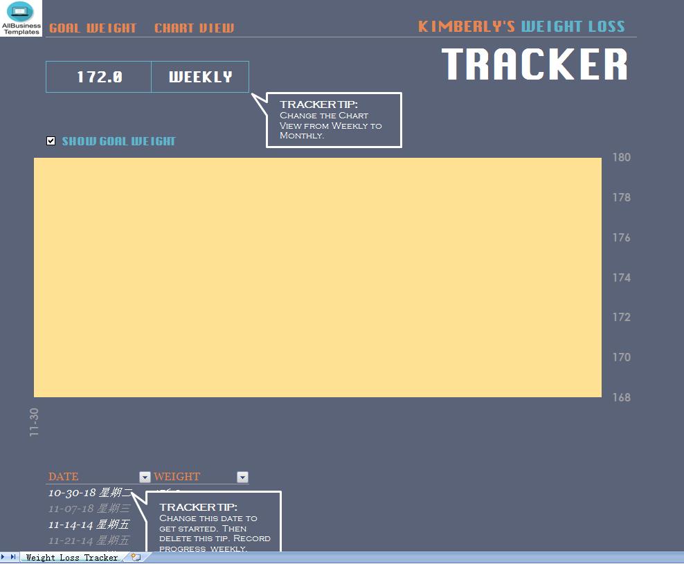 free weight loss tracker templates at
