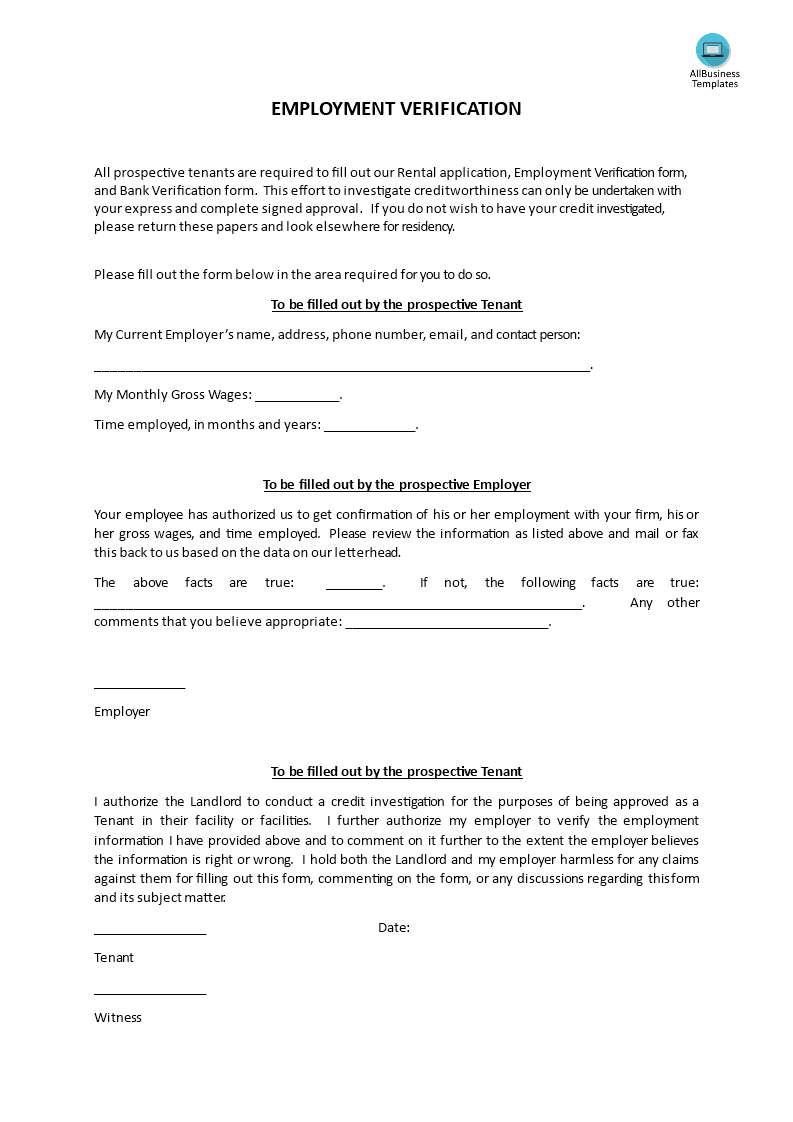Employment Verification Form Template Free Employment Income ...