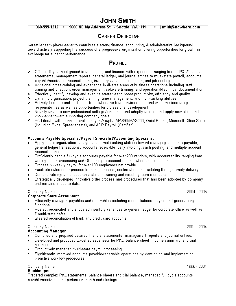 免费Fresher Accountant Resume | 样本文件在allbusinesstemplates.com