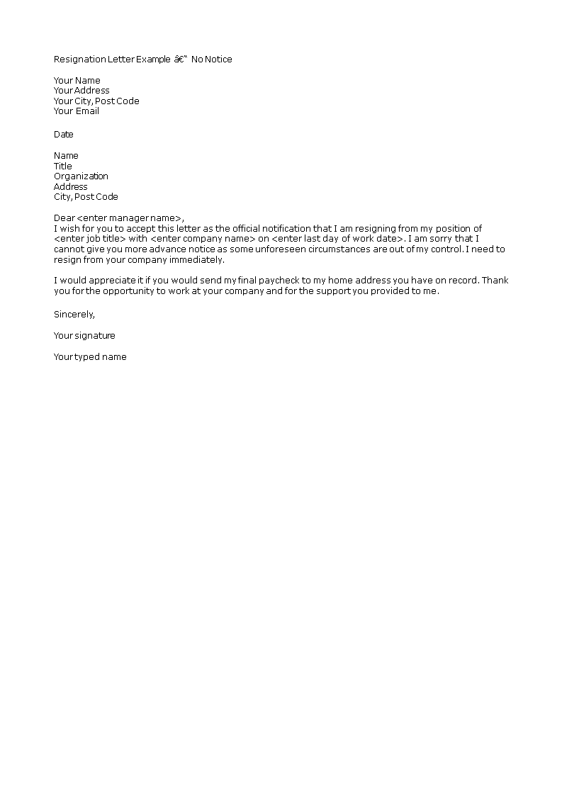 Resignation Letter Without Notice Period | Templates at ...