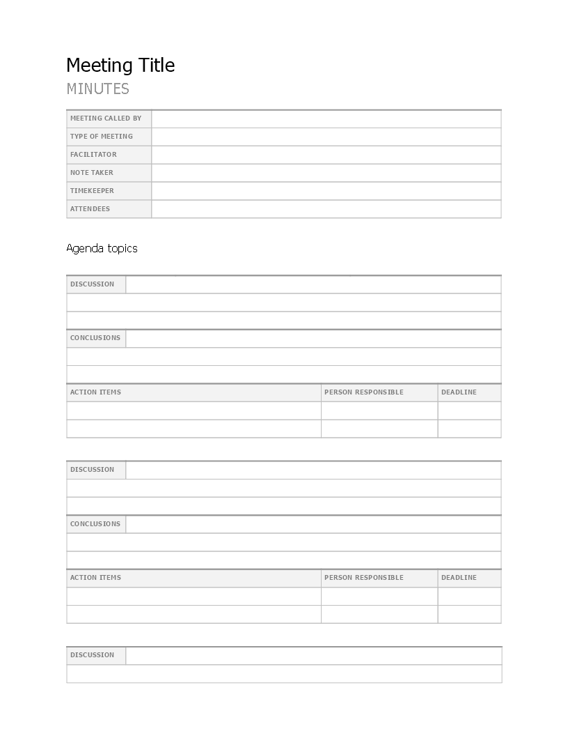 Free Meeting Minutes Template Templates At Allbusinesstemplates