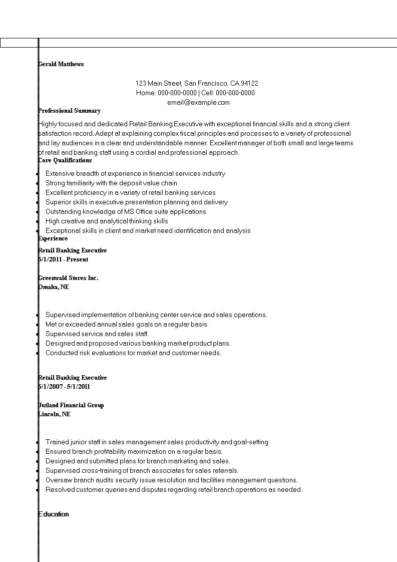 Free resume of a retail banking executive templates at resume of a retail banking executive main image download template yelopaper Choice Image