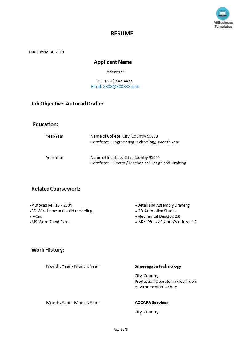 Autocad Drafter Chronological Format Resume | Templates at ...